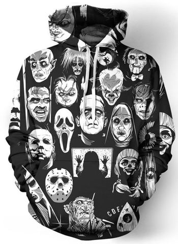 Horror Movie Characters Sublimation Hoodie