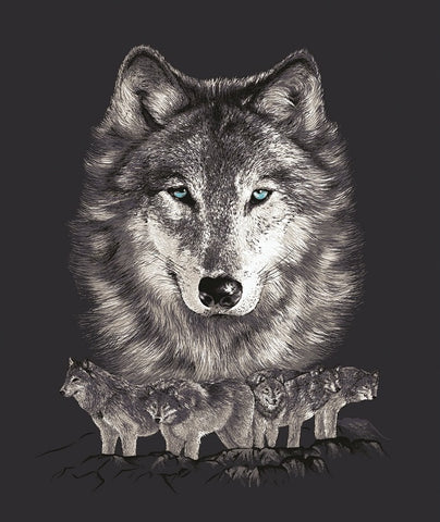 Wolf Face with Wolves