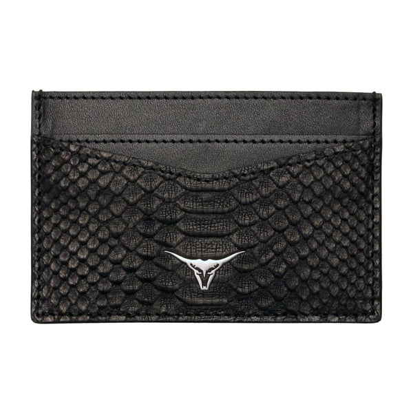 Black Python Snakeskin Card Holder - Card Holder