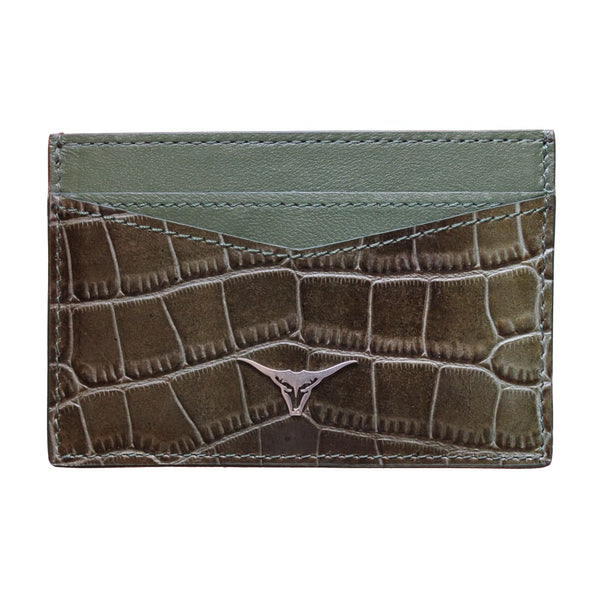 Green Croco-Style Card Holder - Card Holder