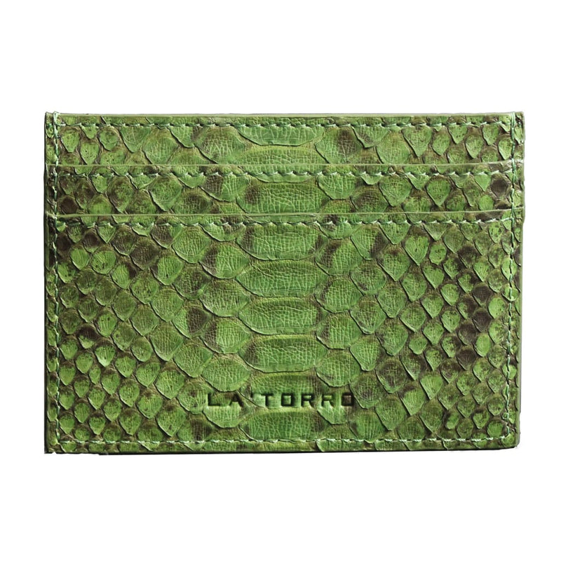 Green Python Snakeskin Card Holder - Card Holder