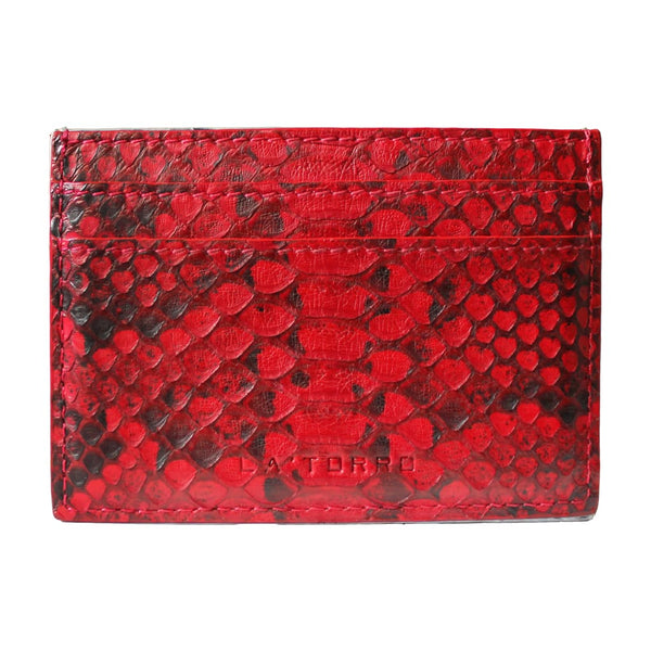 Red Python Snakeskin Card Holder - Card Holder