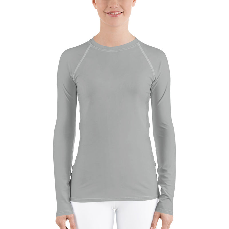 Women's UPF 40+ Rash Guard - Light Gray