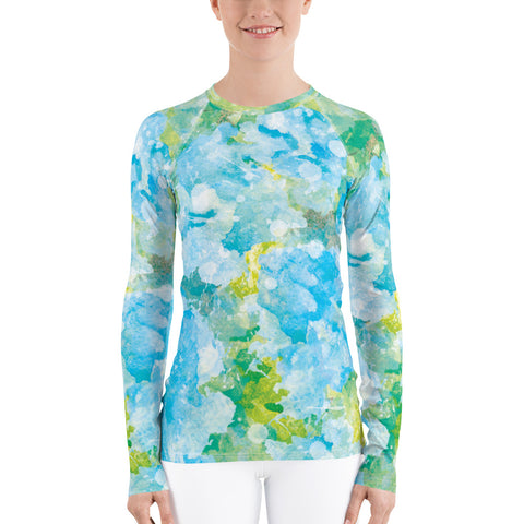 Women's UPF 40+ Rash Guard - Aqua Blue