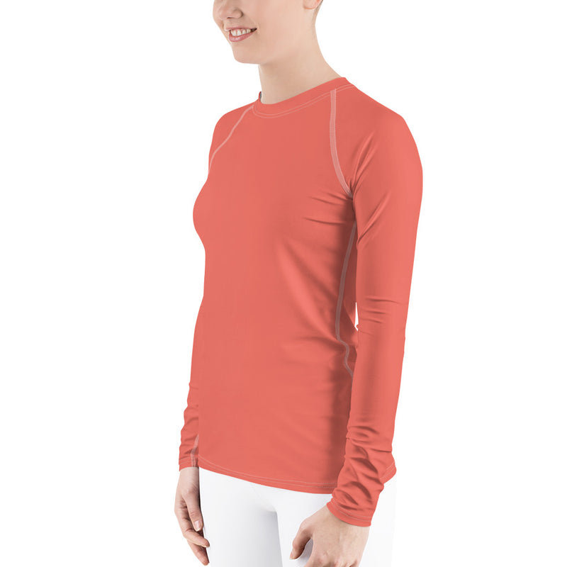 Women's UPF 40+ Rash Guard - Living Coral