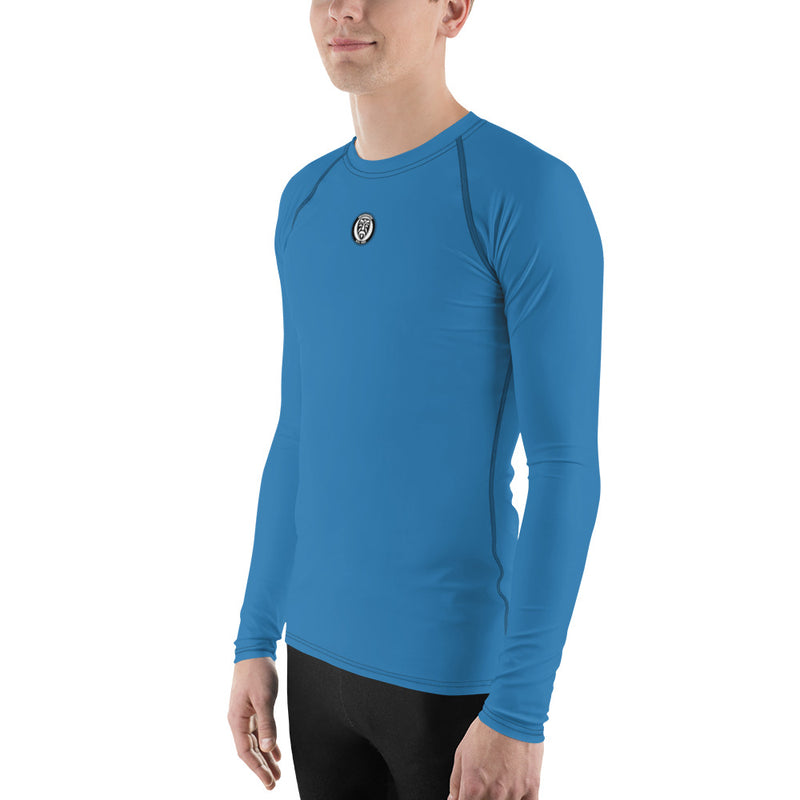 Men's UPF 40+ Rash Guard - Ocean Blue