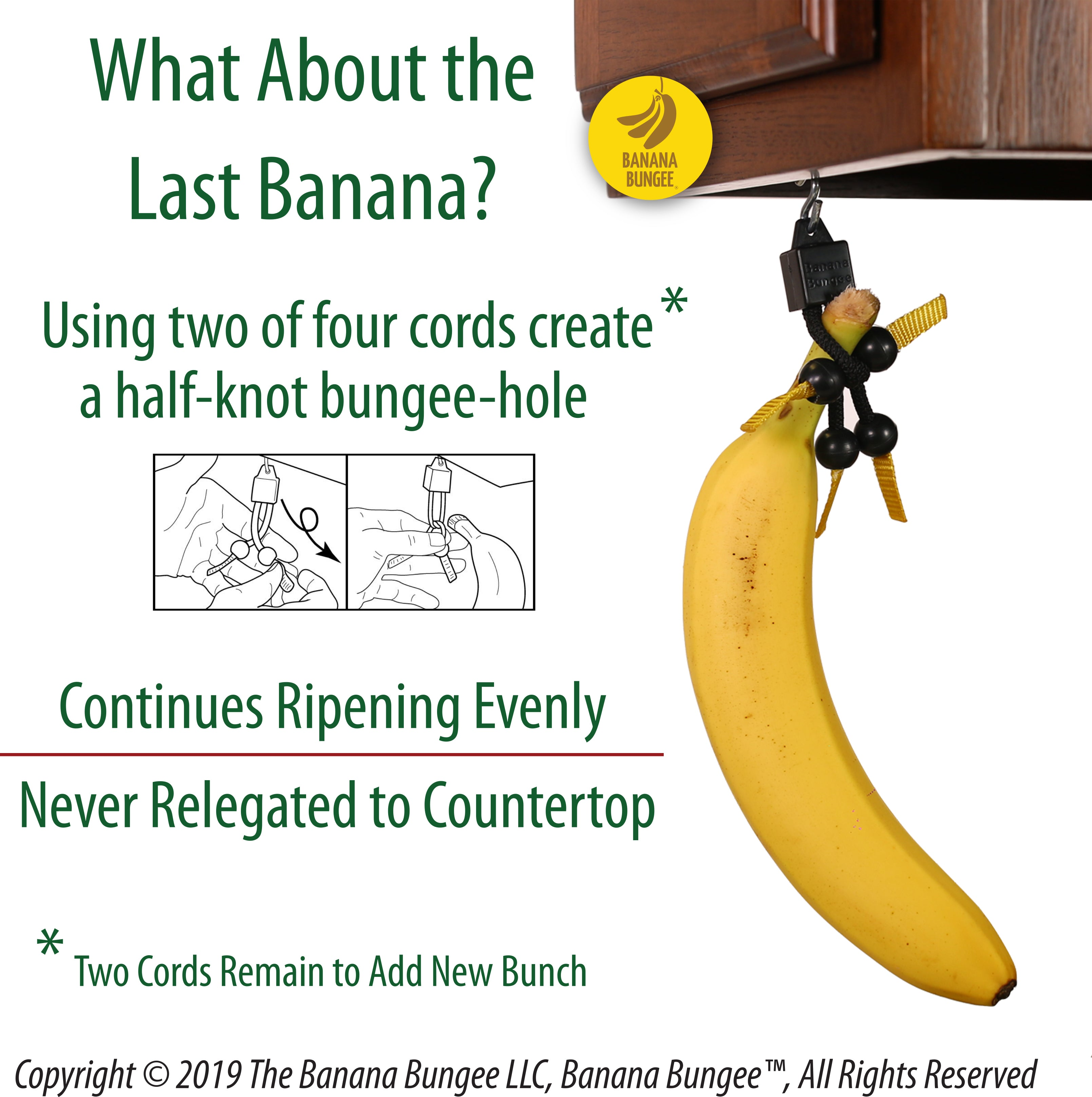 Banana Bungee Hanger, Practical Stand and Rack Alternative, Under Cabinet Hook Holds Single or Bunch, Made In USA