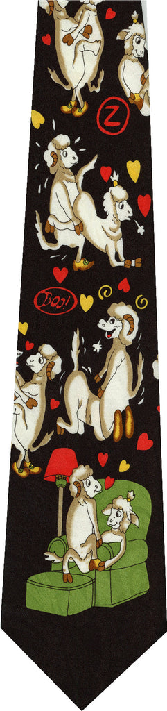 Sheep on Black New Novelty Tie