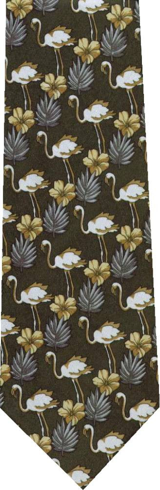 Flamingo On Grey New Novelty Tie