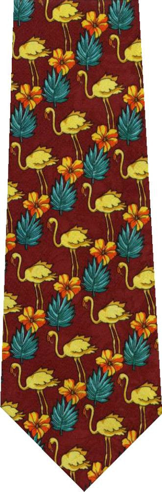 Flamingo On Red New Novelty Tie