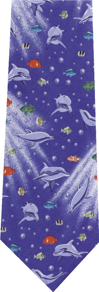 Dolphins With Bubbles Animal New Novelty Tie