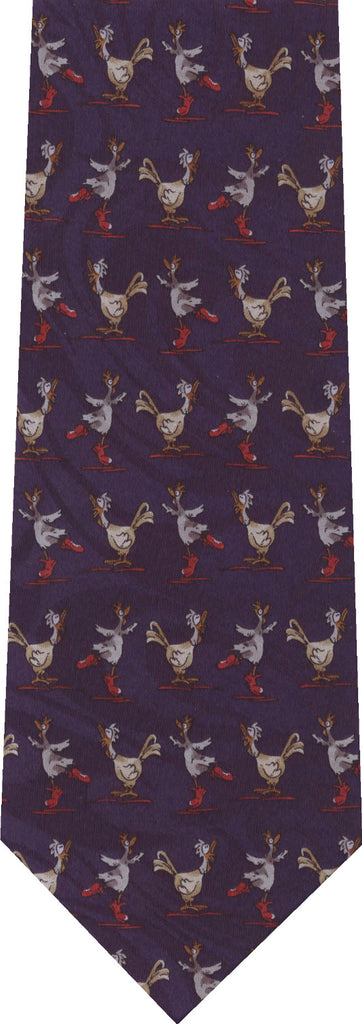 Roosters on Dark  Blue Animal New Novelty Tie