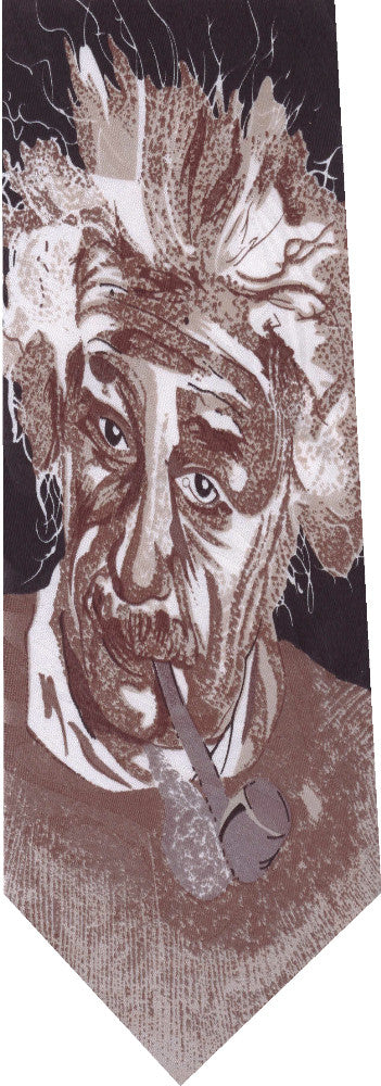 Einstein on Black with Cigar New Novelty Tie