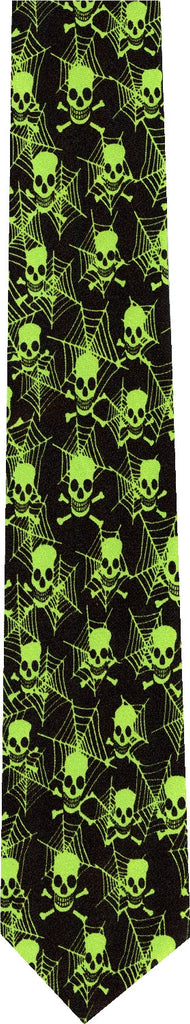 Skull and Cobwebs Halloween New Novelty Tie