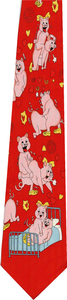 Pigs on Light Red New Novelty Tie