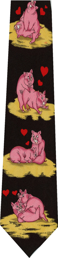 Pigs on Black New Novelty Tie
