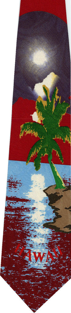 Hawaii on Red New Novelty Tie
