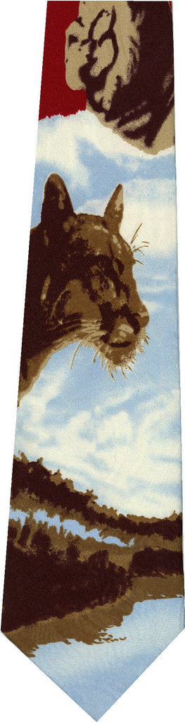Mountain Lion on Red New Novelty Tie
