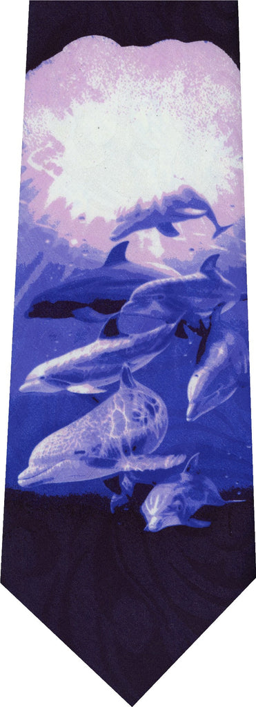 Dolphins under Sea on Blue Frolicking Animal New Novelty Tie