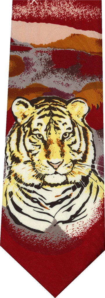 Tiger on Red Animal New Novelty Tie