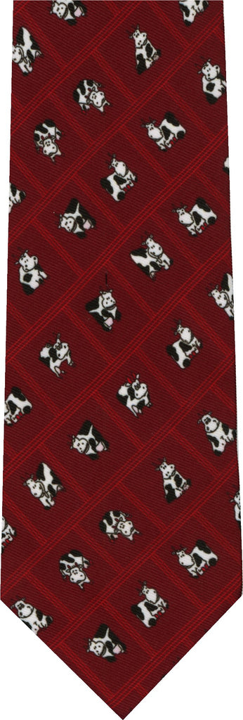 Cows on Red New Novelty Tie
