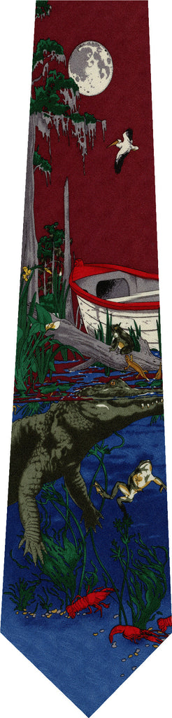 Crocodile on Red New Novelty Tie