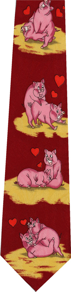 Pigs on Red New Novelty Tie