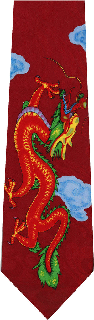 Dragon on Red Animal New Novelty Tie