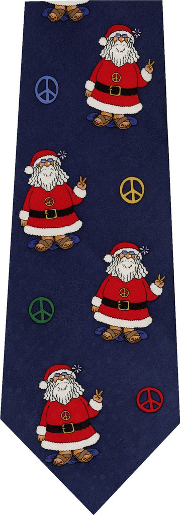 Peace Sign Santa Christmas New Novelty Tie