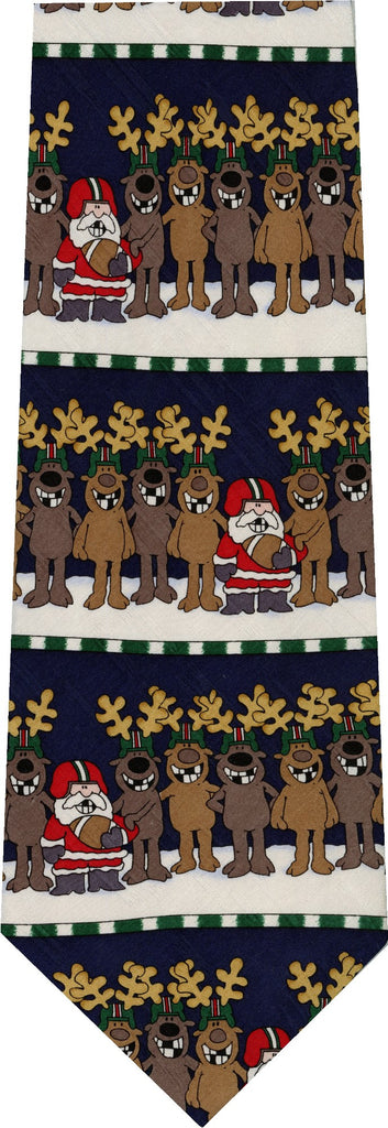 Reindeer and Santa Football Christmas New Novelty Tie