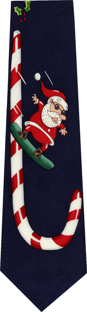 Santa Snowboarding Christmas New Novelty Tie