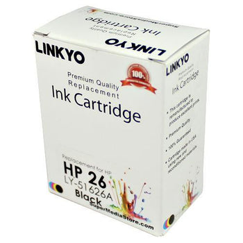 LINKYO Replacement Black Ink Cartridge for HP 26