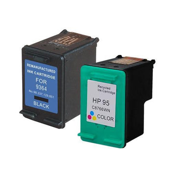 LINKYO Replacement Color Ink Set for HP 95 & 98 (Black, Tri-Color, 2-Pack)