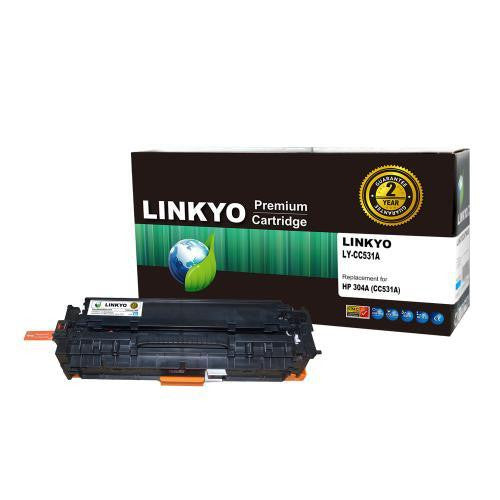 LINKYO Replacement Cyan Toner Cartridge for HP 304A CC531A
