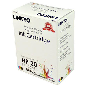 LINKYO Replacement Black Ink Cartridge for HP 20