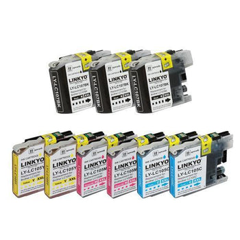LINKYO Replacement 9-Color Ink Set for Brother LC107 LC105 (3x Black, 2x Cyan, 2x Magenta, 2x Yellow)
