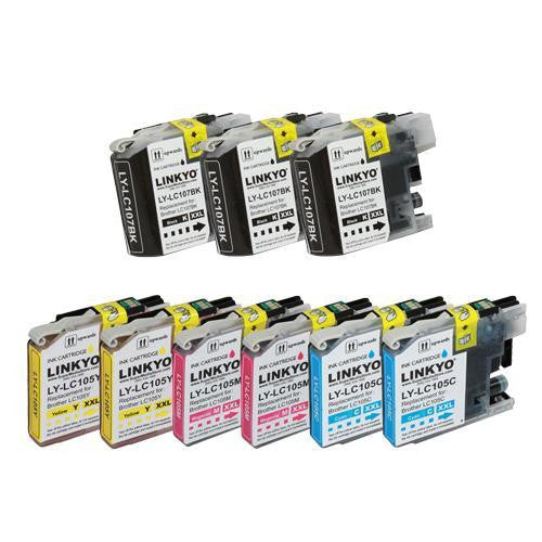 LINKYO Replacement 9-Color Ink Cartridge Set for Brother LC107 LC105 (3x Black, 2x Cyan, 2x Magenta, 2x Yellow)