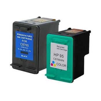 LINKYO Replacement 2-Color Ink Cartridge Set for HP 94 & 95 (Black, Tri-Color)