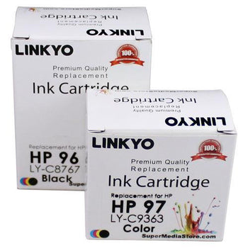 LINKYO Replacement Color Ink Set for HP 96 & 97 (Black, Tri-Color, 2-Pack)
