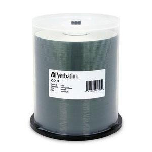 Verbatim Shiny Silver 52X CD-R Media 700MB 100 Pack in Cake Box (94797)