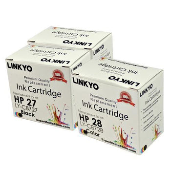 LINKYO Replacement Color Ink Set for HP 27 & 28 (2x Black, Tri-Color, 3-Pack)