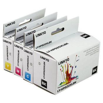LINKYO Replacement Color Ink Set for HP 920XL (Black, Cyan, Magenta, Yellow, 4-Pack)