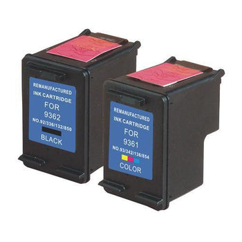LINKYO Replacement Color Ink Set for HP 92 & 93 (Black, Tri-Color, 2-Pack)