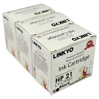 LINKYO Replacement 3-Color Ink Set for HP 21 & 22 (2x Black, Tri-Color)