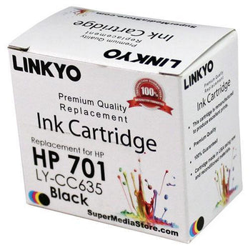 LINKYO Replacement Black Ink Cartridge for HP 701