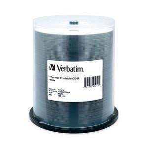 Verbatim White Thermal Printable 52X CD-R Media 700MB 100 Pack in Cake Box (95253)
