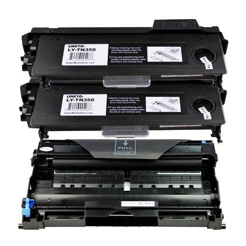 LINKYO Replacement Toner and Drum Set for Brother TN350 and DR350 (2x TN350, DR350)