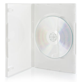 SuperMediaStore 14mm Standard Single White DVD Cases, 100% New Material 100 Pack