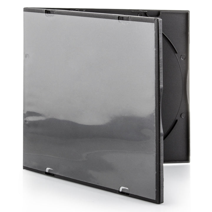 SuperMediaStore 5.2mm Slim Single Black PP Poly CD DVD Cases 200 Pack with Outer Sleeves