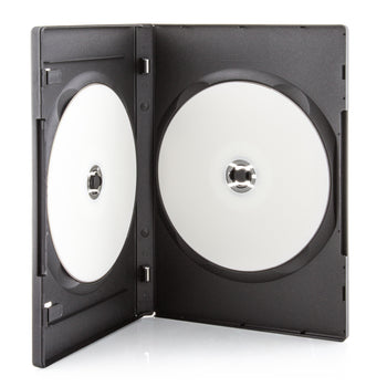 LINKYO 14mm Machine Grade 2 Disc Black CD DVD Cases - 100 Pack